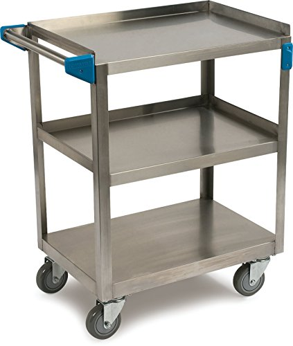 Carlisle UC3031524 3 Shelf Stainless Steel Utility / Service Cart, 300 Pound Capacity, Small