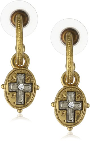 The Vatican Library Collection Gold-Tone Etched Cross Drop Earrings