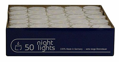 Wenzel-Kerzen 23-217-50-UK Nightlights - Velas de té (50 unidades, en carcasas individuales de plástico, hasta 8 h de combustión)