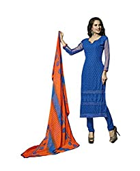 Amyra Women's Chiffon Dress Material (AC796-06, Blue)