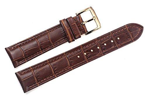 19 mm marrone cinturini in pelle sostitutiva italiani / band grosgrain imbottita con fibbia ad ardiglione in oro a mano per gli orologi di lusso