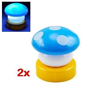 SODIAL(R) 2X Seta azul luz de la noche Childrens Nursery luz LED lampara de escritorio de la cama Side lampara - BebeHogar.com