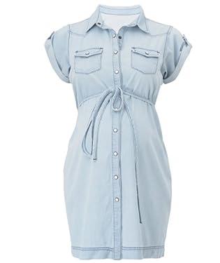 Maternity Cap Sleeve Denim Shirt Dress