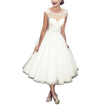 Women's Elegant Sheer Vintage Short Lace Wedding Dress For Bride