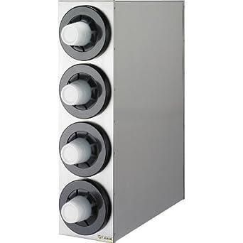 "San Jamar C2854 Sentry Stainless Steel Beverage Dispenser Cabinet with Black Metal Finish Trim Rings, 8-1/8"" Width x 30-1/4"" Height x 24-3/8"" Depth"