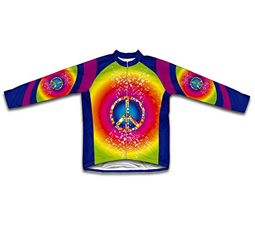 Tie Dye Hippy Winter Thermal Cycling Jersey For Men - Size S