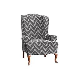 Sure Fit Str Plush Chevron Wing Chair, Gray