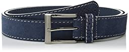 Florsheim Men\'s Casual Genuine Suede Leather Belt with with Contrast Stitched Edge, Blue, 34