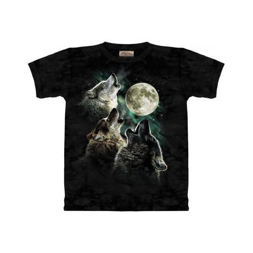 Camiseta con 3 lobos aullando a la luna