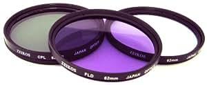 Zeikos 62mm Filter-Set mit UV-, PL-, FLD-Glaslinsen, ZE-FLK62 inklusive Aufbewahrungstasche, z.B. für Olympus E-Volt E-10, Casio Exilim EX-F1 oder ähnliche