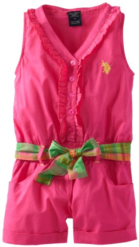 U.S. Polo Assn. Girls 26X ButtonUp Ruffled Romper, Pink Peak, 4 Picture