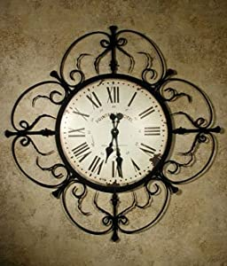 large wall mounted wrought iron clock 97cm