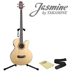 Jasmine by Takamine ES50 C Acoustic Bass Guitar Pack - Includes: Strap, Stand & GoDpsMusic Polish Cloth