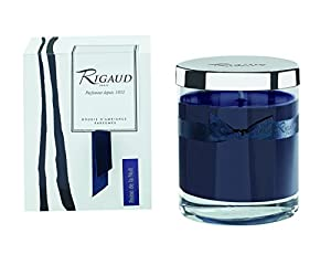 "Rigaud Paris, Chevrefeuille (Honeysuckle) Bougie D'ambiance Parfumee, Medium Candle ""Modele Complet"" with Metal Silver Lid, Deep Blue, 5.6 Oz, 60 Hour, Made in France"