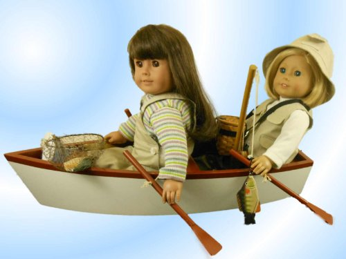 "18"" Doll Furniture & Accessories For American Girl, Skiff Style Row Boat & Oars fits Two 18"" Dolls"