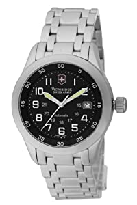 Victorinox SAF Airboss Mach 2 Men's Automatic Watch with Black Dial Analogue Display and Silver Stainless Steel Strap V.25092