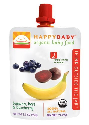 HAPPYBABY Organic Baby Food, Stage 2, Banana, Beet & Blueberry, 3.5 Ounce Pouch (Pack of 16)
