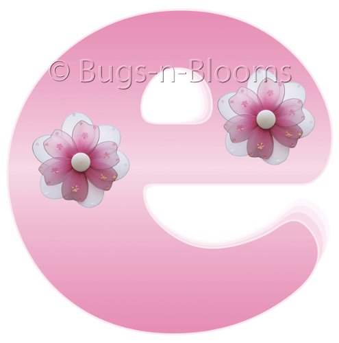 """e"" Pink Daisy Flower Alphabet Letter Name Wall Sticker - baby nursery girls room decor baby nursery girls room decor decoration decorations mural stickers bedroom"