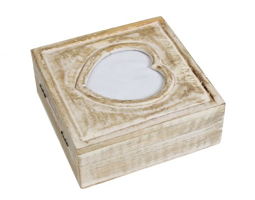 Vintage Like Hand Carved Jewelry Box With Heart Shaped Photo Frame On Lid