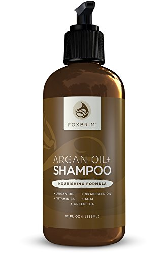 Argan Oil Shampoo - Repair Dry & Damaged Hair - Get Shiny Healthy Hair - Vegan Formula With Aloe Vera, Green Tea, Vitamin B5 & Nutrient Rich Oils - Natural & Organic - Sulfate Free - Foxbrim 12OZ (Vegan Heat Protectant compare prices)