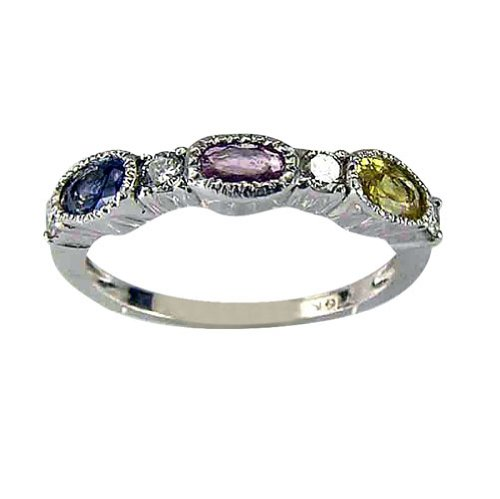 Sterling Silver Multi Color Sapphire Diamond Ring - 8.5