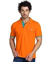 Yoo Orange Color Polo Neck T-Shirt For Men.