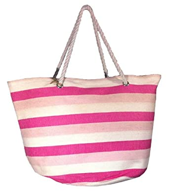 "Oversized Bright Striped Canvas Beach Tote Bag - W5"" D19"" H16"" - Pink"