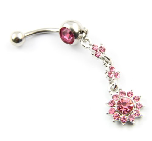 316L Surgical Steel 14 Guage Pink Rhinestone Hanging Flower Dangle Banana Belly Navel Ring Bar Barbell Button Body Piercing