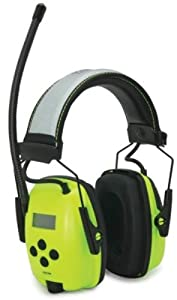 Howard Leight by Honeywell 1010390 Hi-Vis Radio and MP3 Ear Muff, bright green with reflective headband, 1-Pair