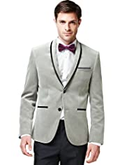 Limited Collection Super Slim Fit Pure Cotton Shawl Collar Tipped Jacket