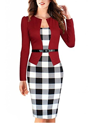 Viwenn Women Elegant Colorblock Long Sleeve V Neck Business Party Dress,Large,Red