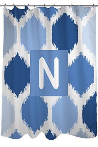 Thumbprintz Shower Curtain, Monogrammed Letter N, Blue Batik front-755205
