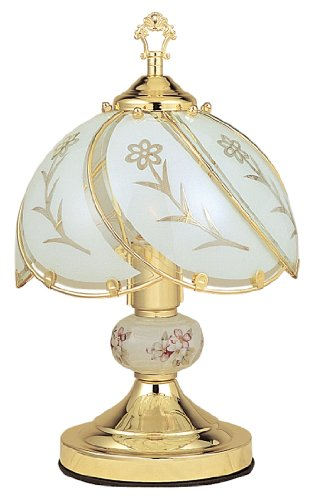 Ore International K313 White Glass Floral Touch Lamp, Brushed Gold front-179684