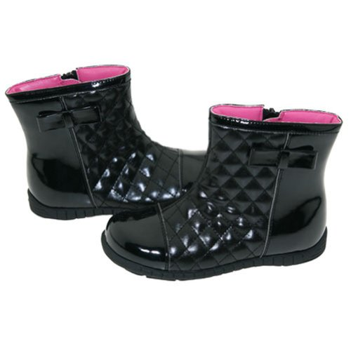 Girls Black Quilted Patent Ankle Fashion Boots Toddler Little Girl 5-2