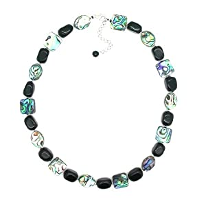 Pearlz Ocean Black Onyx Nugget and Abalone Shell Necklace with Sterling Silver Clasp