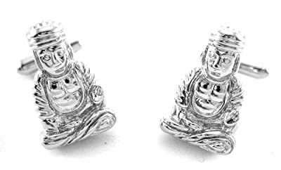 Silver Tone Praying Buddha Cufflinks