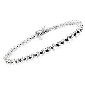 1.00 Ct Tw Black Diamond Tennis Bracelet in Sterling Silver - 7""