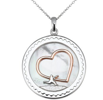 Arjang Co PS-8010-SP Sterling Silver All Heart Round Pendant