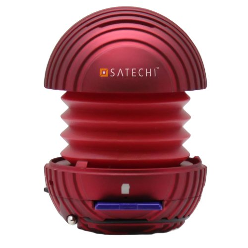 Satechi Sd Mini Portable Pocket Speaker (Red) Mp3 Player Sd Card Reader For Iphone 5S, 5C, 5, 4, Ipod Touch 4G, Sandisk Sansa Clip Plus, Blackberry, Htc Evo, Droid, Samsung Galaxy S2, S3, S4