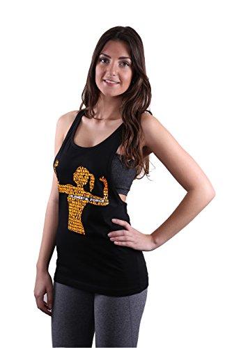 """LADIES/Fitness da donna Loose TANK TOP Nero locker, taglio informale con Elemental Force """"da donna"""" Logo arancione fluo"""
