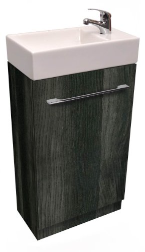 Small Compact Gloss Black Grey Ash 45cm Cloakroom Vanity Unit including tap