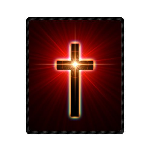 Personalized Fashion Back Glowing Cross Picture Fleece Blanket 50 X 60 back-1080510
