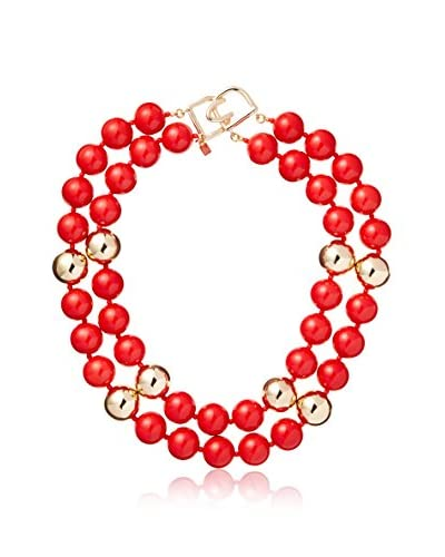 Kenneth Jay Lane 2 Rows Red and Gold Beaded Necklace