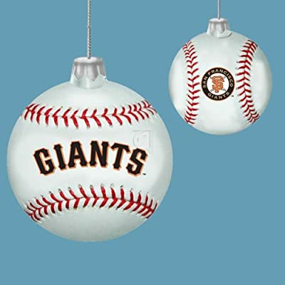 Kurt Adler 80mm San Francisco Glass Baseball Ornament