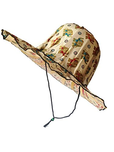Thai handmade traditional Art Elephant Nylon&Bamboo FOLDABLE Outdoor Fishing Beach Summer Sun Hat Wide Brim for Women (Broncos Wall Mount Bottle Opener compare prices)
