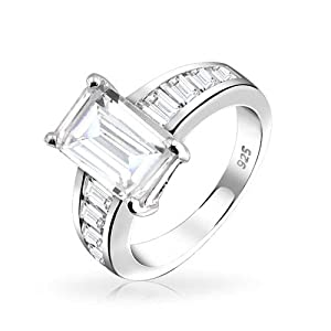 Bling Jewelry 925 Sterling Silver Emerald Cut CZ Engagement Ring