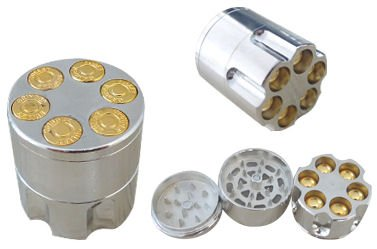 HERB GRINDER Large Revolver Metal Magnetic Pollen Screen 3-Piece 40mm: QUALITY! from Penny Silver