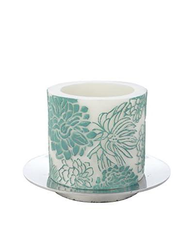 Et Al Designs Aqua Peonies White Pillar Candle