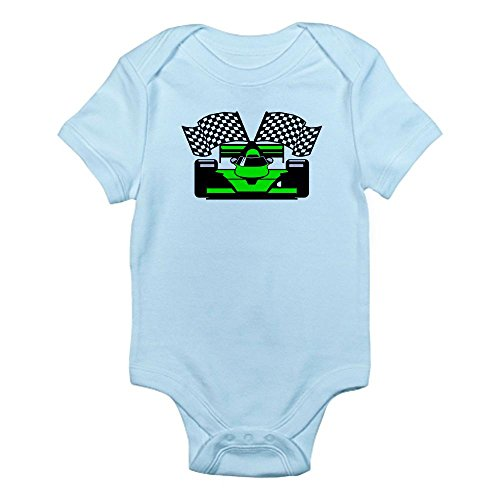 Cafepress Lime Green Race Car Infant Bodysuit - 3-6M Sky Blue back-497900