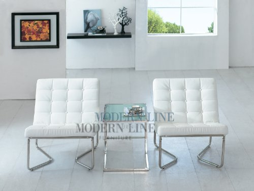 Modern Two White Leather Chairs and End Table